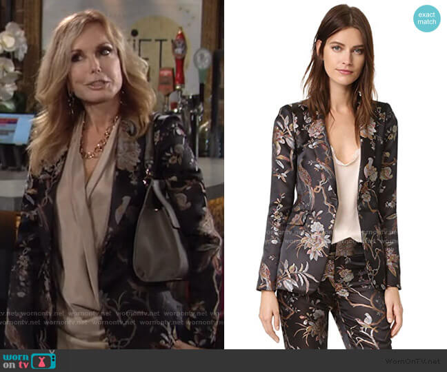 Alice + Olivia Macey Floral Blazer worn by Lauren Fenmore (Tracey Bregman) on The Young & the Restless