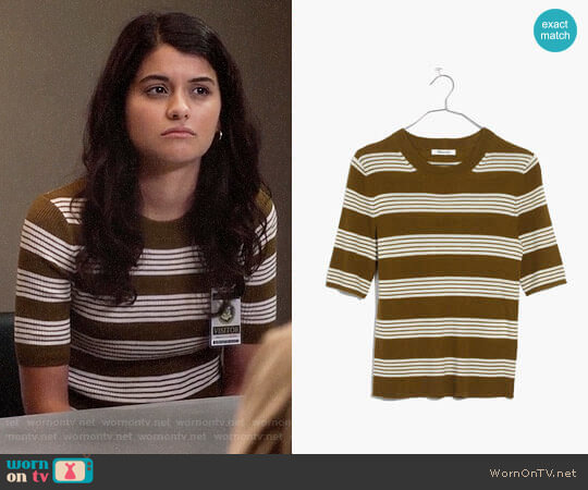 Madewell Ribbed Sweater Top in Bennett Stripe worn by Sofia Black D'Elia on The Mick