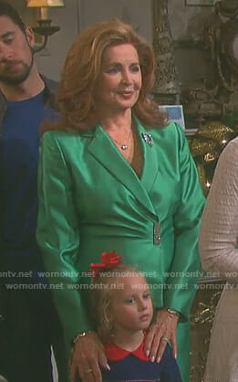 Maggie's green satin suit on Days of our Lives