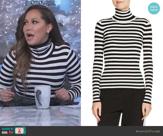 Stripe Turtleneck Sweater by Maje worn by Adrienne Houghton on The Real