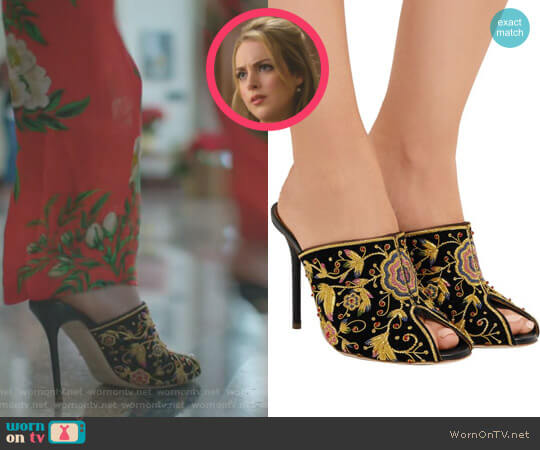 Dawn Embellished Velvet Mules by Malone Souliers worn by Elizabeth Gillies on Dynasty