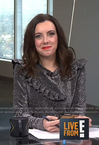 Melanie's metallic ruffle top no Live from E!