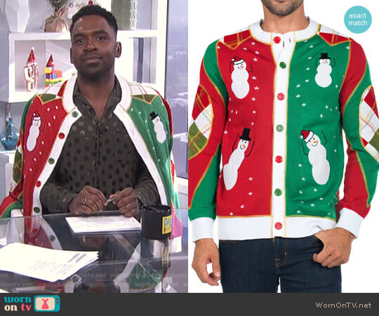 Ugly Christmas Snowmen Dancing Cardigan by Tipsy Elves worn by Justin Sylvester on E! News
