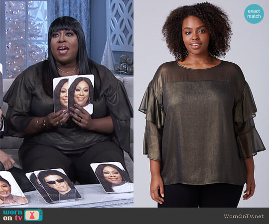Metallic Ruffle-Sleeve Top by Lane Bryant worn by Loni Love  on The Real