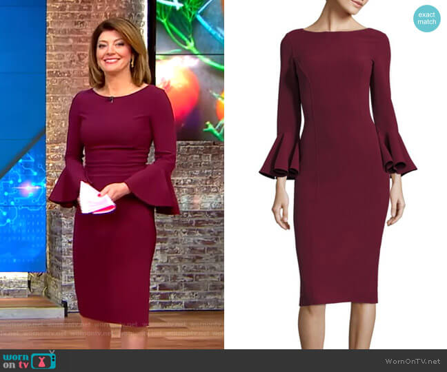 Bell Sleeve Dress by Michael Kors worn by Norah O'Donnell  on CBS This Morning
