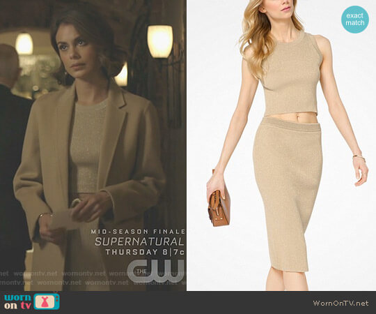 Ribbed Stretch-Viscose Cropped Tank and Skirt by MICHAEL Michael Kors worn by Cristal Flores (Nathalie Kelley) on Dynasty