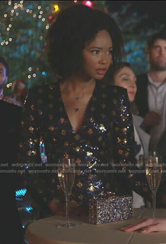 Monica's blue sequined mini dress on Dynasty