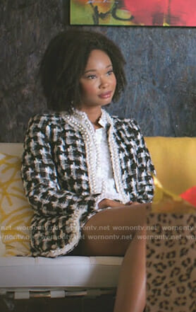Monica's white pearl blouse and checked tweed jacket on Dynasty