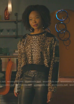 Monica's leopard and leather panel top on Dynasty