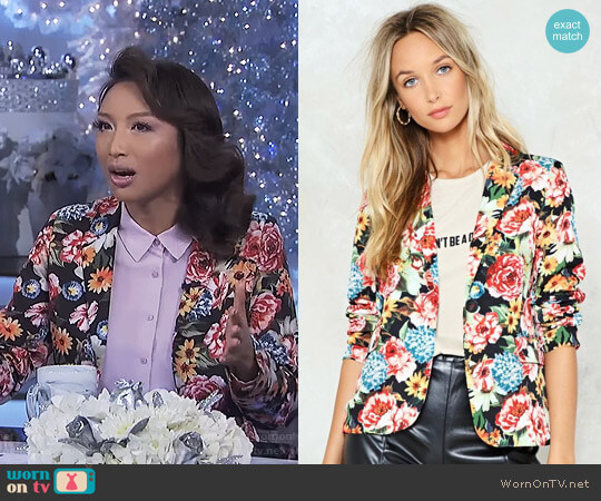 Hate to See You Grow Floral Blazer by Nasty Gal worn by Jeannie Mai on The Real