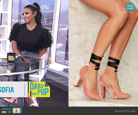 Valley of the Dolls Velvet Heel by Nasty Gal worn by Julissa Bermudez on E! News