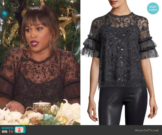 Constellation Short-Sleeve Sequin Tulle Top by Needle & Thread worn by Eve on The Talk