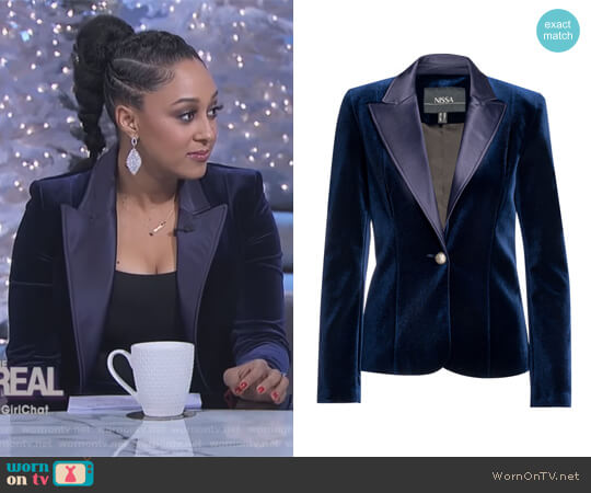 Elegant Velvet Blazer by Nissa worn by Tamera Mowry  on The Real