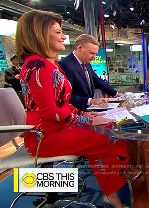 Norah's red floral jumpsuit on CBS This Morning