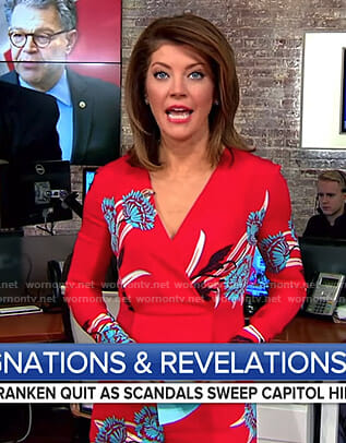 Norah's red floral jumpsuit no CBS This Morning