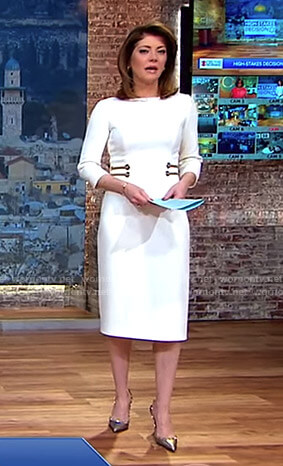 Norah's white grommet waist dress on CBS This Morning