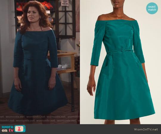 Off-the-shoulder silk-faille dress by Oscar De La Renta worn by Grace Adler (Debra Messing) on Will & Grace
