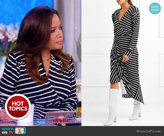 Annabel asymmetric ruched striped stretch-jersey dress by Preen by Thornton Bregazzi worn by Sunny Hostin  on The View