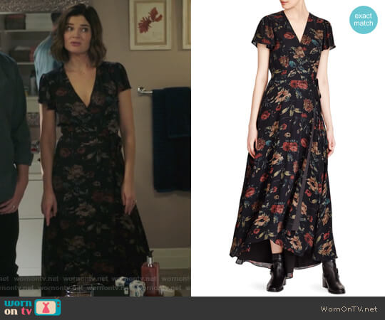 Camron Floral Wrap Silk Dress by Polo Ralph Lauren worn by Betsy Brandt on Life in Pieces