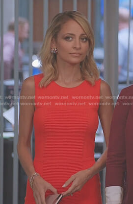 Portia's orange ribbed sheath dress on Great News