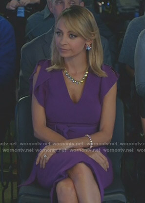 Portia's purple ruffle sleeve dress on Great News