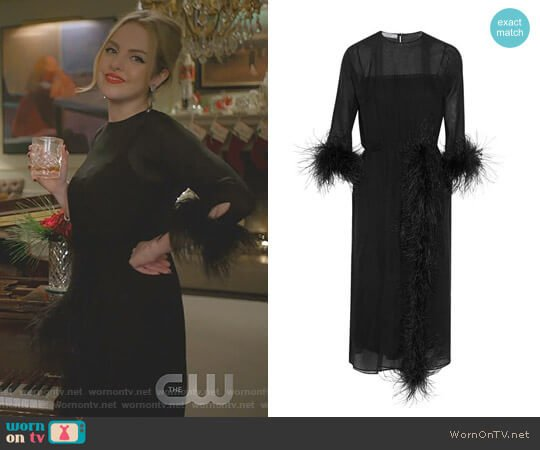 Feather Trimmed Midi Dress by Prada worn by Fallon Carrington (Elizabeth Gillies) on Dynasty