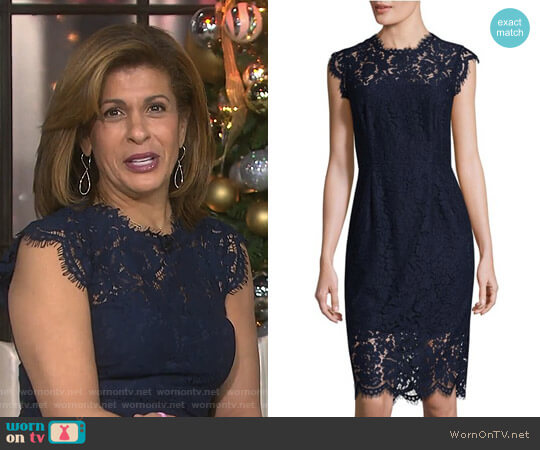 Floral Cap Sleeve Lace Sheath Dress by Rachel Zoe worn by Hoda Kotb on Today