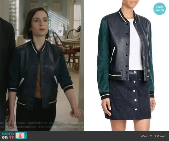 Suede and Leather Varsity Jacket by Rag and Bone worn by Jennifer Short (Zoe Lister-Jones) on Life in Pieces