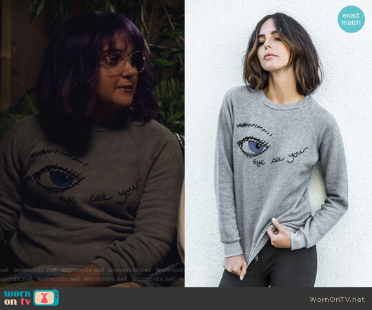 Embroidery Eye Sweatshirt by Rag Doll Los Angeles worn by Ariela Barer on Marvels Runaways