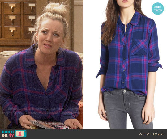 Rails Taitum Plaid Shirt in Navy Ultra Violet worn by Kaley Cuoco on The Big Bang Theory
