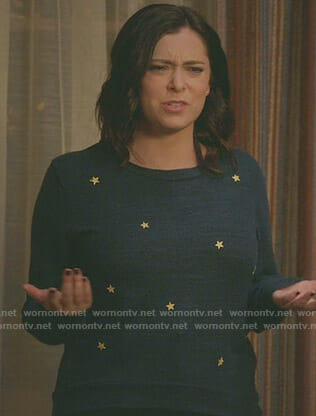 Rebecca's blue star print sweatshirt on Crazy Ex-Girlfriend