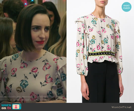 Ruffled Floral Blouse by Red Valentino worn by Zoe Lister-Jones on Life in Pieces