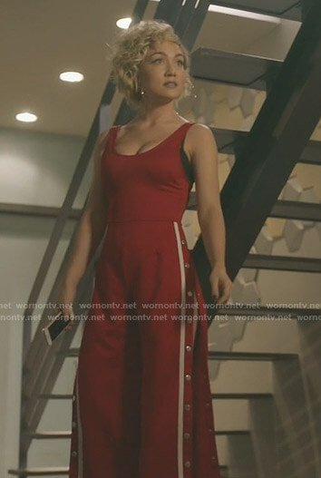 Star's red side snap button jumpsuit on Star