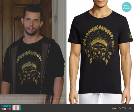 Indian Skull Cotton Tee by Robin's Jeans worn by Sam Flores (Rafael de la Fuente) on Dynasty