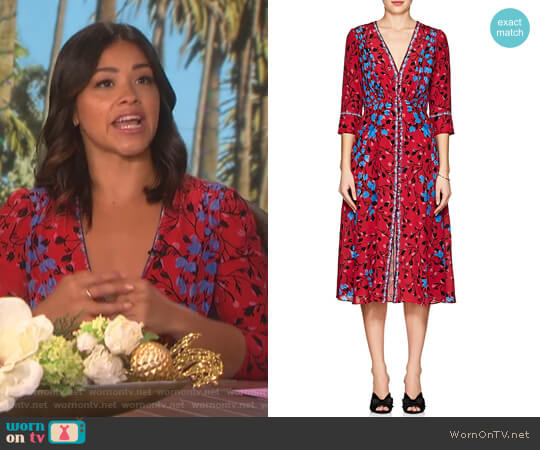 Eve Floral Silk Midi-Dress by Saloni worn by Gina Rodriguez on The Talk