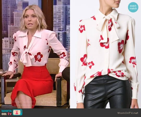 Hibiscus Floral Print Shirt by Saint Laurent worn by Kelly Ripa  on Live with Kelly & Ryan