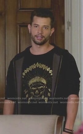 Sam's black indian skull print t-shirt on Dynasty