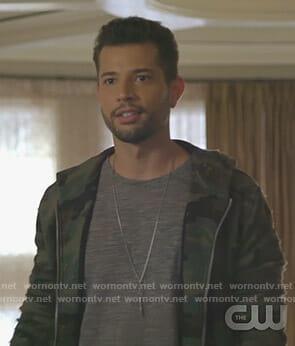Sam's distressed camo hoodie on Dynasty
