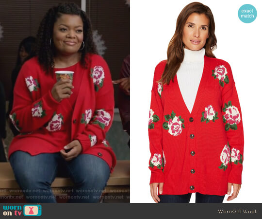 Rosetta Rose-Print Cardigan by Sanctuary worn by Yvette Nicole Brown on The Mayor