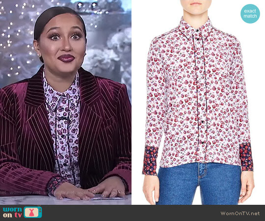 Floral Print Silk Shirt by Sandro worn by Adrienne Houghton (Adrienne Houghton) on The Real