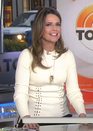 Savannah's white lace-up ribbed sweater on Today
