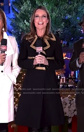 Savannah's black military coat on Rockefeller Center Christmas Tree Lighting