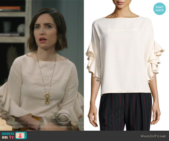 Boat-Neck Ruffled-Sleeve Crepe Top by See by Chloe worn by Jennifer Short (Zoe Lister-Jones) on Life in Pieces