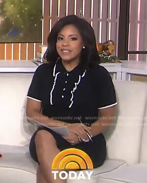Sheinelle's black ruffle polo dress on Today