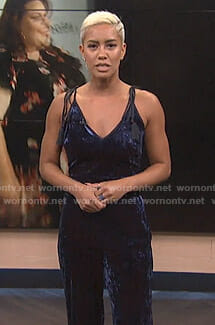 Sibley's blue strappy velvet jumpsuit on E! News