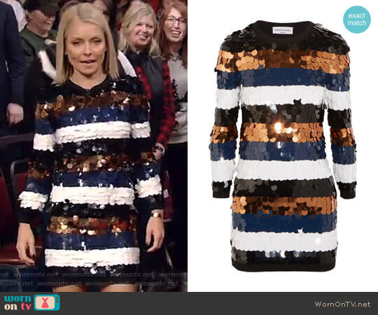 Sequined Wool-Jersey Mini Dress by Sonia Rykiel worn by Kelly Ripa on Live with Kelly & Ryan