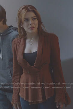 Sonia's orange bell sleeve blazer on The Gifted