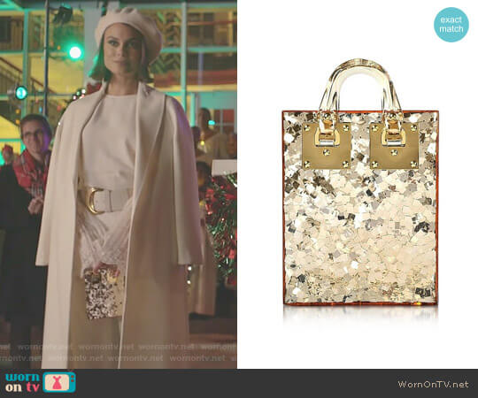 Compton Shoulder Bag in Gold by Sophie Hulme worn by Nathalie Kelley on Dynasty