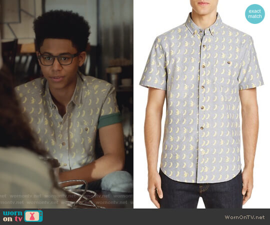 Banana Print Regular Fit Button-Down Shirt by Sovereign Code worn by Rhenzy Feliz on Marvels Runaways
