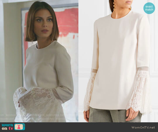 Lace-trimmed Crepe Blouse by Stella McCartney worn by Nathalie Kelley on Dynasty